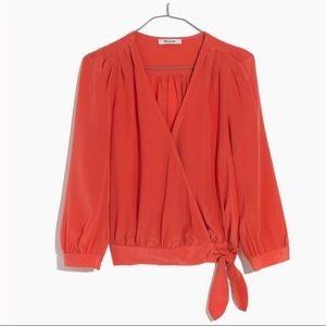 Madewell silk wrap top coral XXS